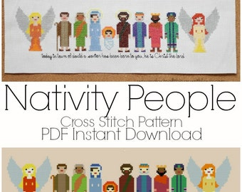 Pixel People Nativity Cross Stitch Pattern INSTANT DOWNLOAD
