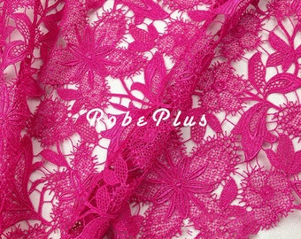 Pink floral lace fabric - Fuchsia floral lace fabric - Floral Embroidered Lace Fabric - Pink lace -Floral Embroidered Pink Lace Fabric-L98
