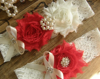 Wedding Garters / Garter / Ivory / Red / Bridal Garter / Toss Garter / Vintage Inspired / Garter Set