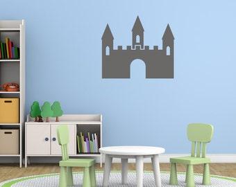 Kids Castle Fort Wall Sticker, Castle Wall Decals, Boys Wall Art, Boys Bedroom Wall Transfers - PI097