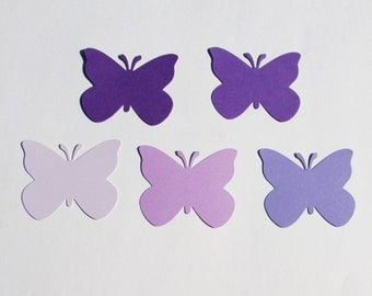 "Set of 50 PURPLE  BUTTERFLY die cuts, size 2""x 1.75"""
