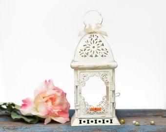 White Wedding Lantern Centerpiece-Vintage Shabby Chic-Wedding Decor-Wedding Table Centerpieces-Centerpiece Ideas-Moroccan Lantern