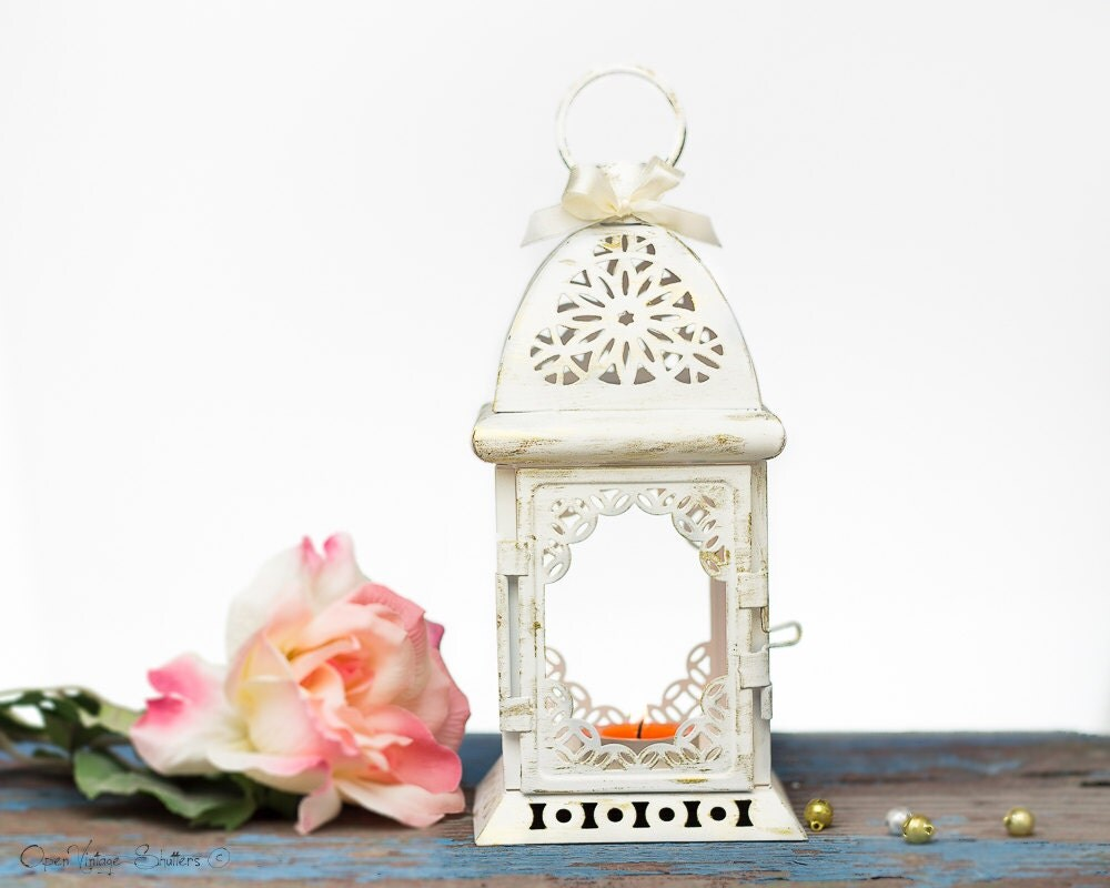 White wedding lantern centerpiece vintage shabby chic