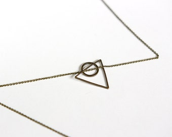Geometric Triangle and Circle Necklace in Antique Brass