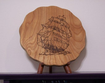 Tall Mast Sailing Ship Woodburning Pyrography