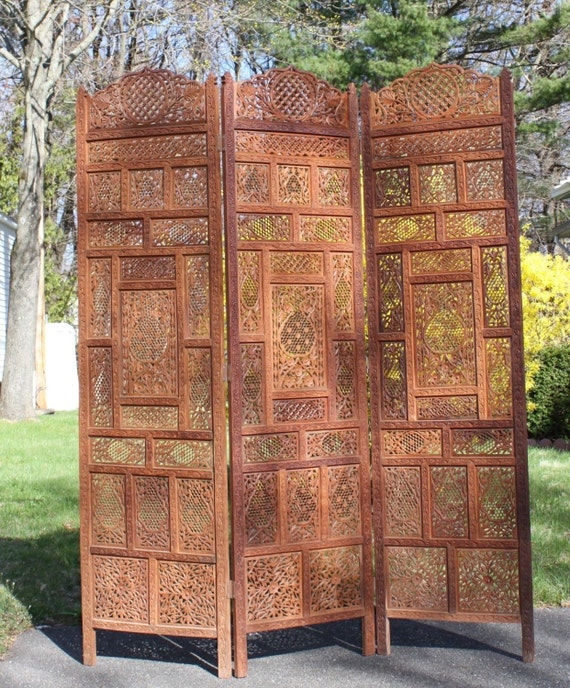 Antique hand carved teak rosewood room divider screens