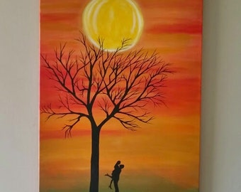 Couple silhouette painting,Couple hugging,Modern Landscape Painting,Abstract Tree painting,Contemporary Art, Couple romantic Painting, 18x24