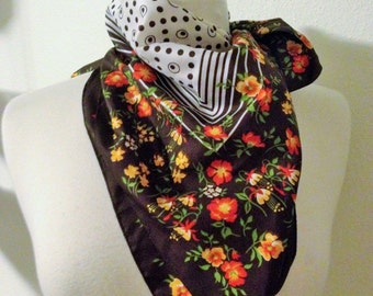 Vintage Floral and Polka Dot scarf made in Italy