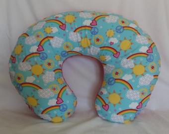 Rainbows and Sunshinel Nursing Pillow Slip Cover with Comfy Backing