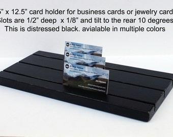 "Jewelry Display Board, 12.5"" x 5.5"", Earring Card Display Business card holder, Wood Display, Jewelry card holder, slotted jewelry display"