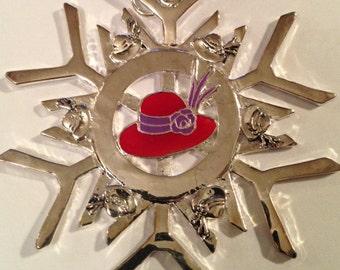 Red Hat Lady Club Snowflake Christmas Ornament