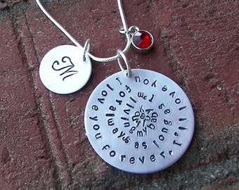 Hand stamped jewelry, As Long as I am living , mommy jewelry, custom hand stamped, personalized, I 'll love you forever, handstamped