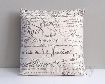 French Script Pillow Covers. Square/ Boudoir Script Pillow Covers.