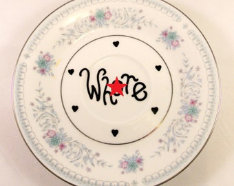 Wh*re Vintage Floral Blue Saucer Decorative Wall Ornament Adult Humor Funny Gift for Her Rude Present Birthday Girls Bedroom Decor Mature