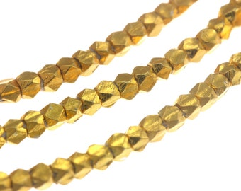 Karen Hill Tribe Beads Gold vermeil Tiny Faceted Cube Spacer Bead, 1.7 mm : Gold plated / Gold coated