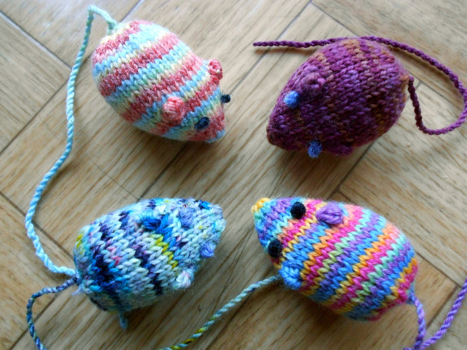 Mouse Cat Toys Homemade Knit Amigurumi Mice By