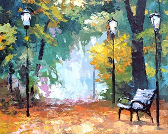 In autumn park - LANDSCAPE OIL palette knife Painting on canvas by Dmitry Spiros. 32x24 in. 80 x 60 cm