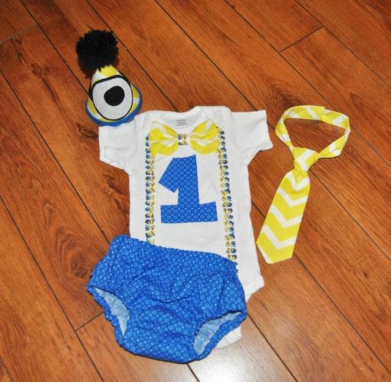 Baby Boy/Toddler Minions Cake Smash Outfit Boy By RYLOwear