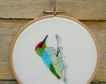 DIGITAL DOWNLOAD; Woodpecker hand embroidery pattern