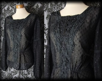 Gothic Black Lace V Bib VICTORIAN GOVERNESS Detailed Blouse Top 16 18 Vintage