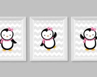 Pink Penguin Nursery Art, Children's Decor, Girl's Room Art, Winter, Arctic, Kids Room, Toddler Prints, Penguin Pictures, Chevron, Set of 3