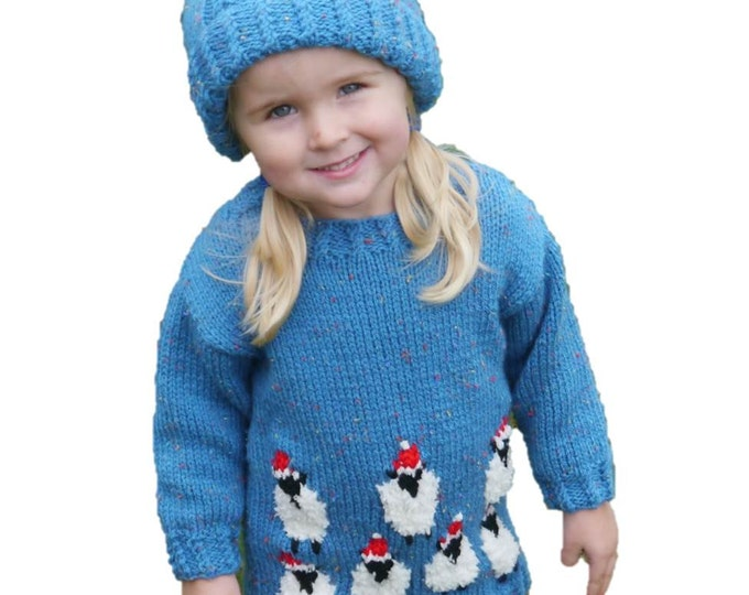Sheep Child Sweater and Hat Aran Knitting Pattern,  Christmas Sweater Hat Knitting Pattern, Aran Sheep Knitting Pattern, Christmas Pattern