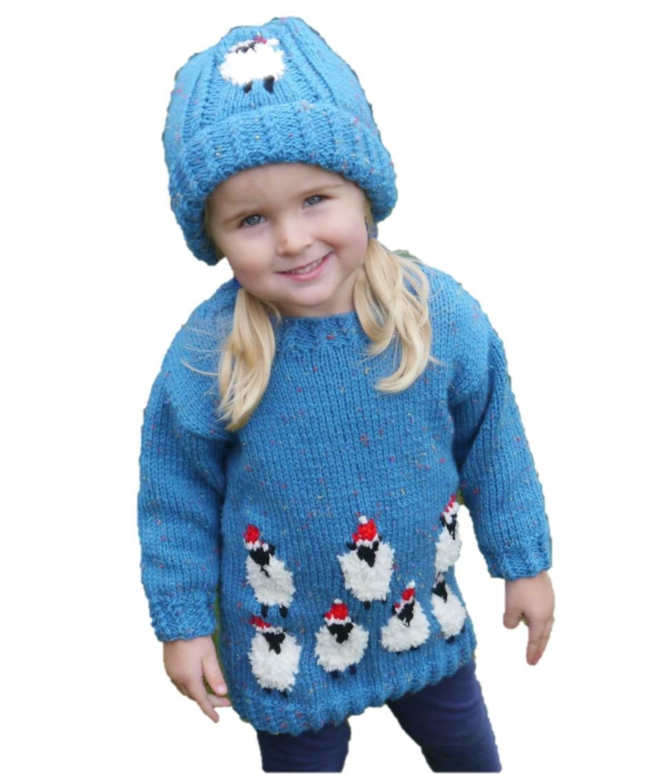 Christmas Child Knitting Patterns : Sheep Child Sweater and Hat Aran Knitting Pattern Christmas