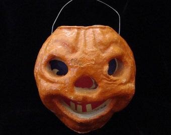 Vintage Halloween Jack-o-Lantern Paper Machie Pumpkin