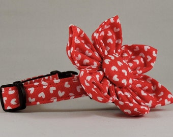 Cat Collar or Kitten Collar with Flower or Bow Tie - Small White Hearts