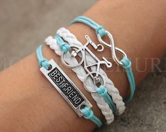 Bike bracelet Best Friend Bracelet Bicycle Bracelet Infinity bracelet charm bracelet silver charm bracelet for women aqua bracelet