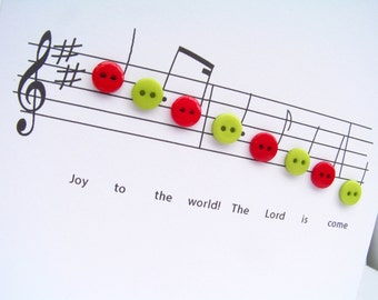 Joy to the World Christmas Card - Christmas Music with Button Notes - Carol - Paper Handmade Greeting Card - Holiday Card - Religious Card
