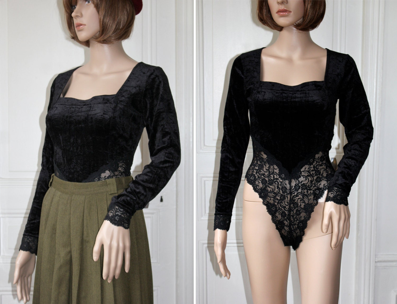 body velours noir et dentelle vintage ann es 80 chancr. Black Bedroom Furniture Sets. Home Design Ideas