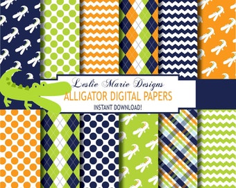 ALLIGATOR Digital Papers - INSTANT Download - Preppy Alligator