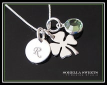 Initial Necklace, Four Leaf Clover Necklace, Shamrock, Initial & Birthstone, Shamrock Birthstone Necklace, Silver Clover, Mother Necklace