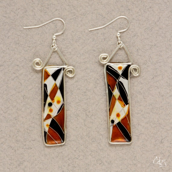 Bright abstraction. Jewelry earrings. Long colorful earrings.