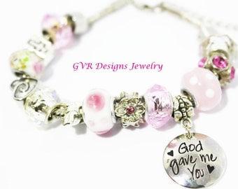 God Gave Me You Pink Pandora Inspired Bracelet