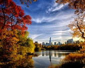 THE TRAVEL COLLECTION, Central Park, New York, fall, leaves, trees, autumn, lake, buildings, urban, park, blue, orange, red, yellow, vibrant
