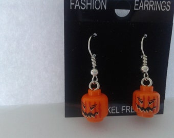 Halloween pumpkin head  dangle earrings made with LEGO® bricks