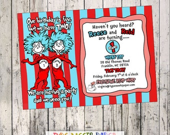 Dr. Seuss Thing 1 Thing 2 Birthday Invitation