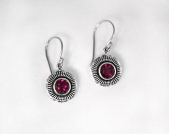 Ruby Corundum Earrings
