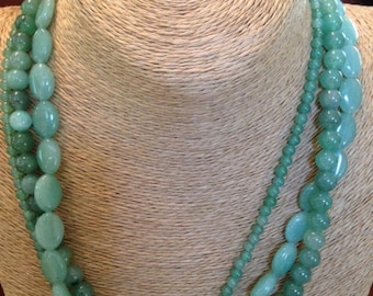 """Green Aventurine 18""""  Necklace w 925 Sterling Silver & Coral Clasp"""