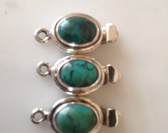 Genuine Turquoise Gemstone Box Clasp set in 925 Sterling Silver