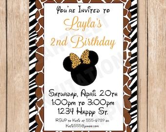 Minnie Safari Birthday Invitation   Wild, Leopard, Zebra, Giraffe, Mouse Bow - 1.00 each printed or 10.00 DIY file