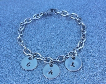 Personalized Stainless Steel Bracelet ~ Up to 4 Personalized Initial Discs Included