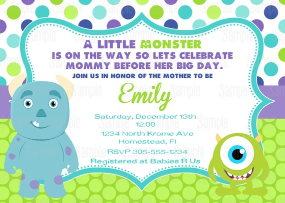 Printable Monster Inc Baby Shower Party Invitation plus FREE blank