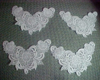 Vintage Four White Satin Thread Appliques,3x6 Inches, Nevere Used Store Stock