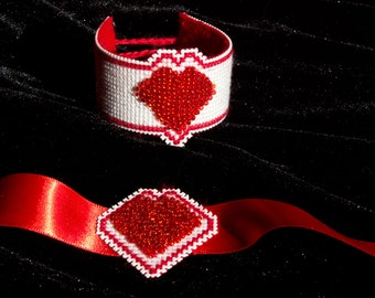 Red and White Heart bracelet and necklace set.