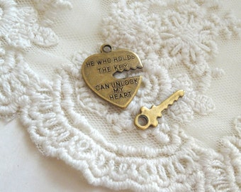 1- Heart and Key Pendant Valentines Day He Who Holds The Key Can Unlock My Heart Charms Fitted Heart and Key Pendant Diy Anniversary Inv0430
