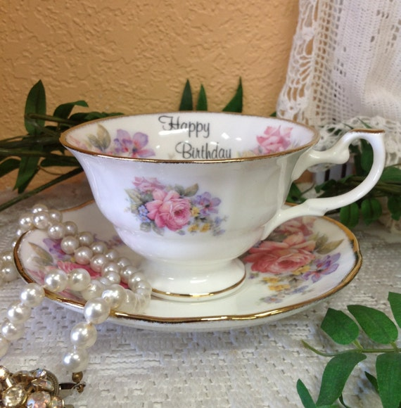 Vintage Happy Birthday Teacup And Saucer By Royal