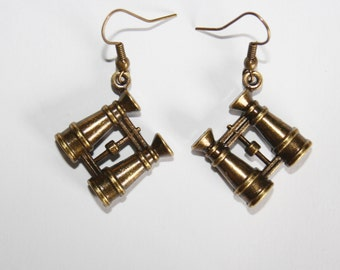 SALE Big bronze steampunk binocular earrings